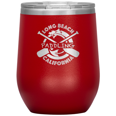 Classic Paddling Dragon Wine Tumbler with Clear Lid (12 oz) | Insulated Stainless Steel | Sweat Free Powder-coat | Laser Etched