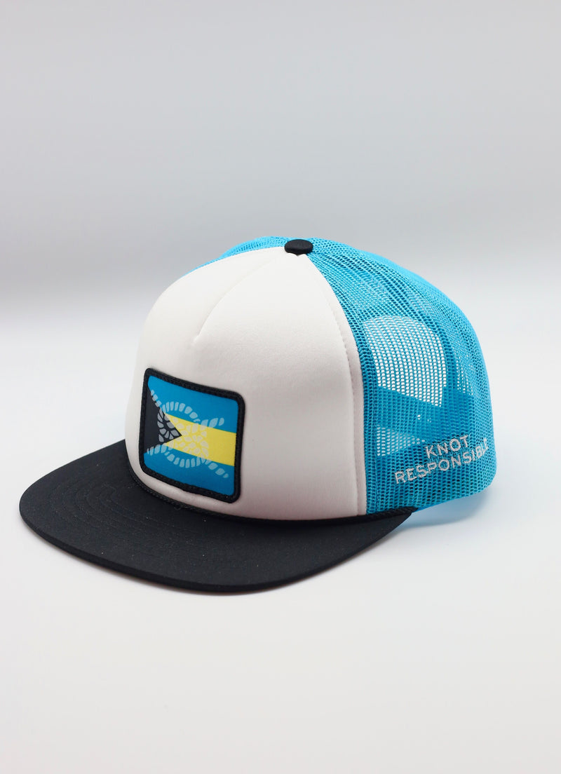 Limited Edition Abaco Strong Foam Trucker Hat- Black/White/ Turquoise