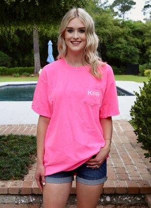 Classic Logo Cotton Pocket Tee- Hot Pink