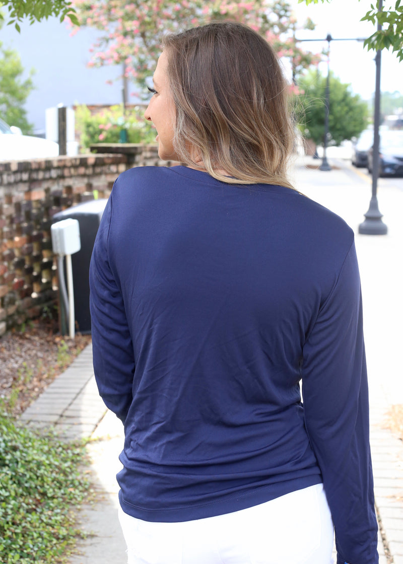 V Neck Ladies Sleeve Logo Performance Long Sleeve - Navy