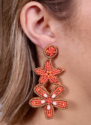 Queens Starfish And Flower Earring Coral