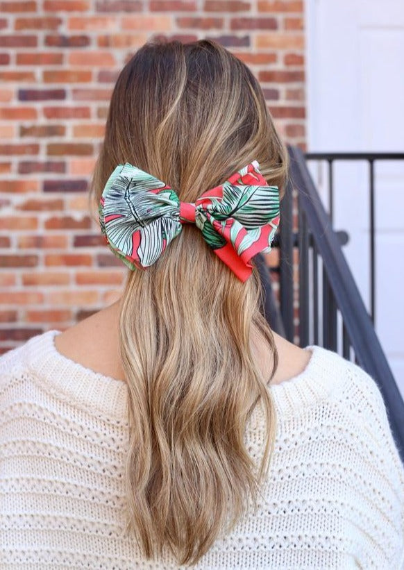 Pansy Palm Print Bow Barrette Red