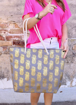 Foil Pineapple Tote Bag With Rope Handles Gray