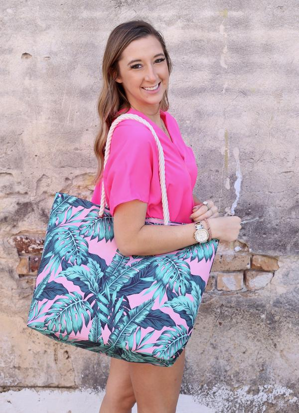 Tropical Palm Bag With Rope Handles Pink