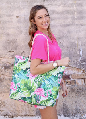 Tropical Flamingo Bag With Rope Handle Green