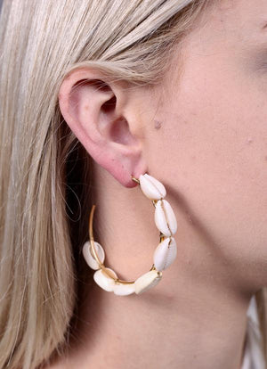 Large Maui Shell Hoop Earring Natural