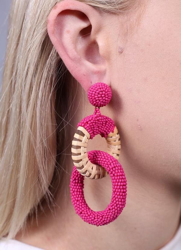 Dukes Double Ring Earring Pink