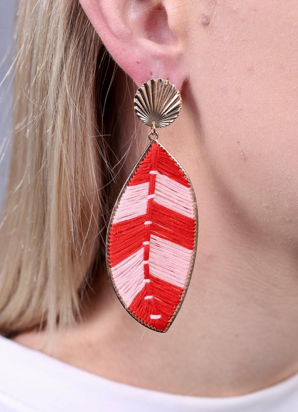Winnston Thread Wrapped Leaf Earring Red