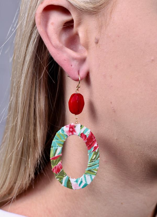 Malibu Wrapped Oval Earring Pink