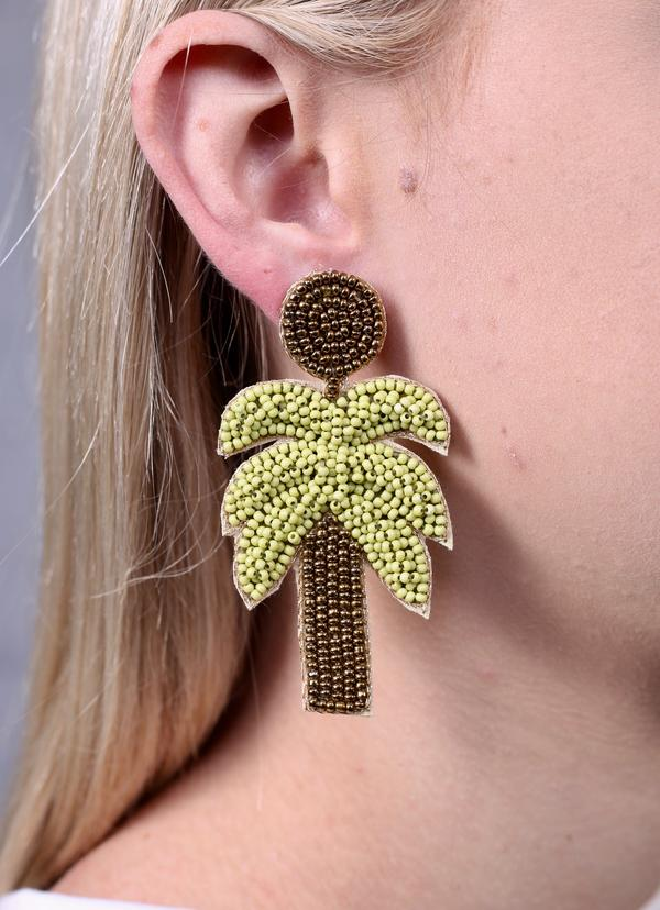 Carstic Beaded Palm Tree Earring Green