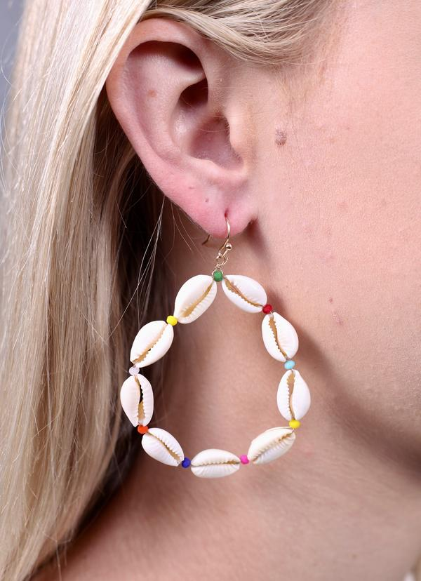 Susie Round Shell Beaded Earring Multi