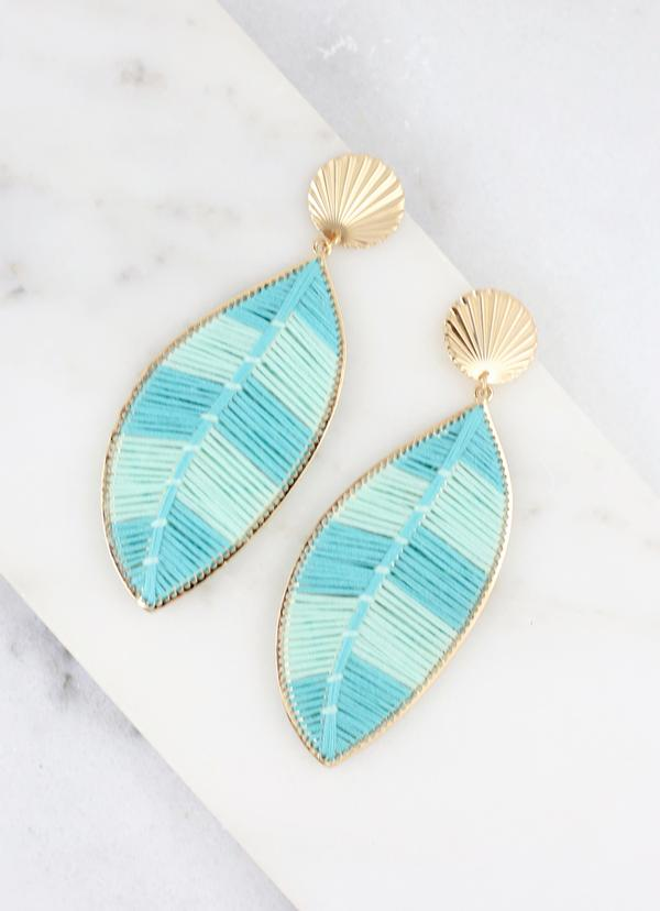 Winnston Thread Wrapped Leaf Earring Aqua