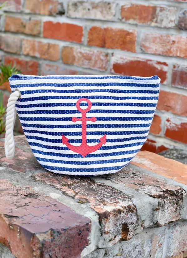 Nautical Striped Pouch With Anchor Navy