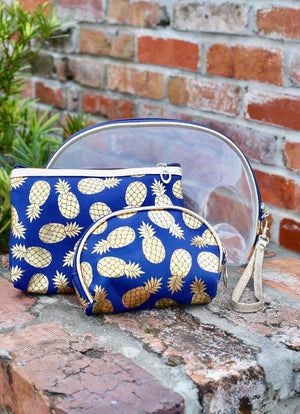 Gold Foil Pineapple Set Of 3 Pouches Navy
