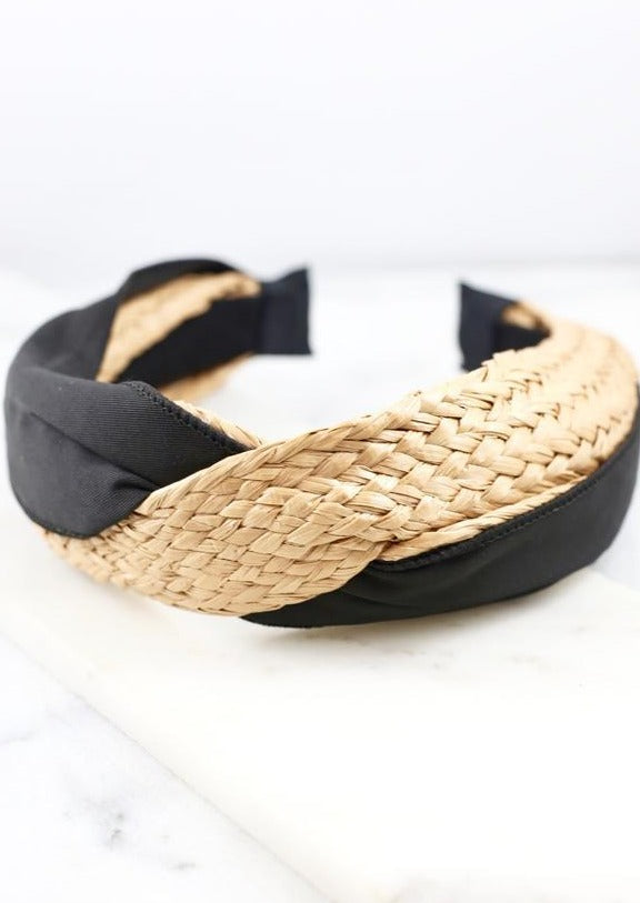 Whitewater Woven And Fabric Headband Black