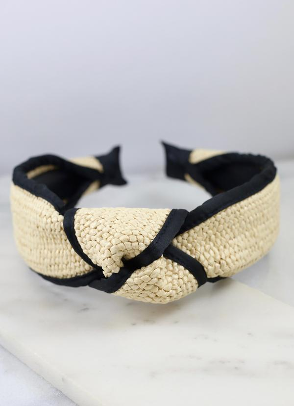 Dempsey Rattan Headband With Black Trim Natural
