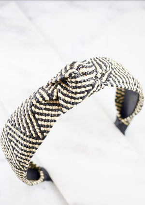 Seaside Woven Rattan Headband Black