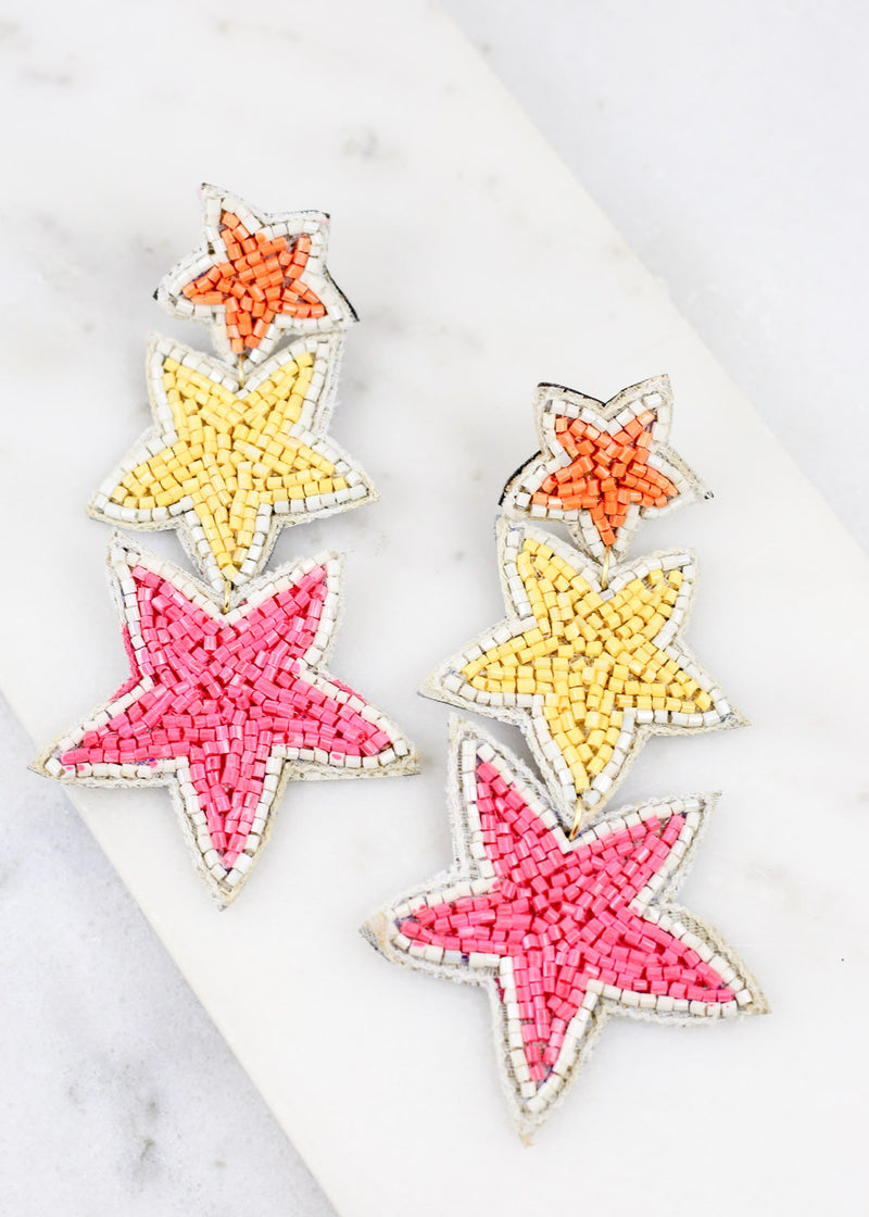 Stargazer Three Star Earring Pink