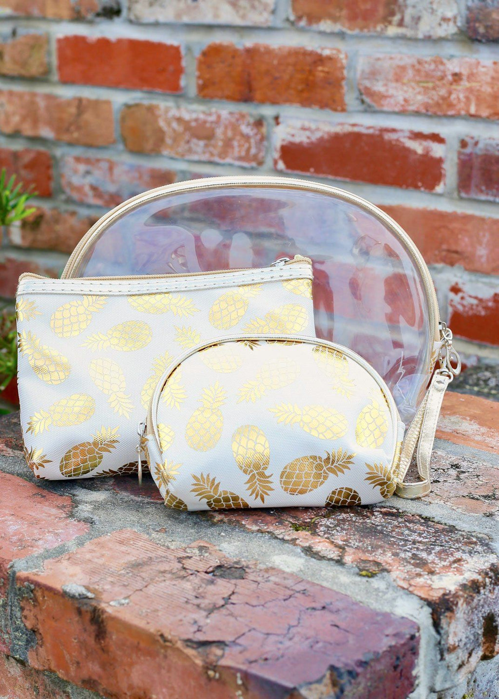 Gold Foil Pineapple Set Of 3 Pouches White