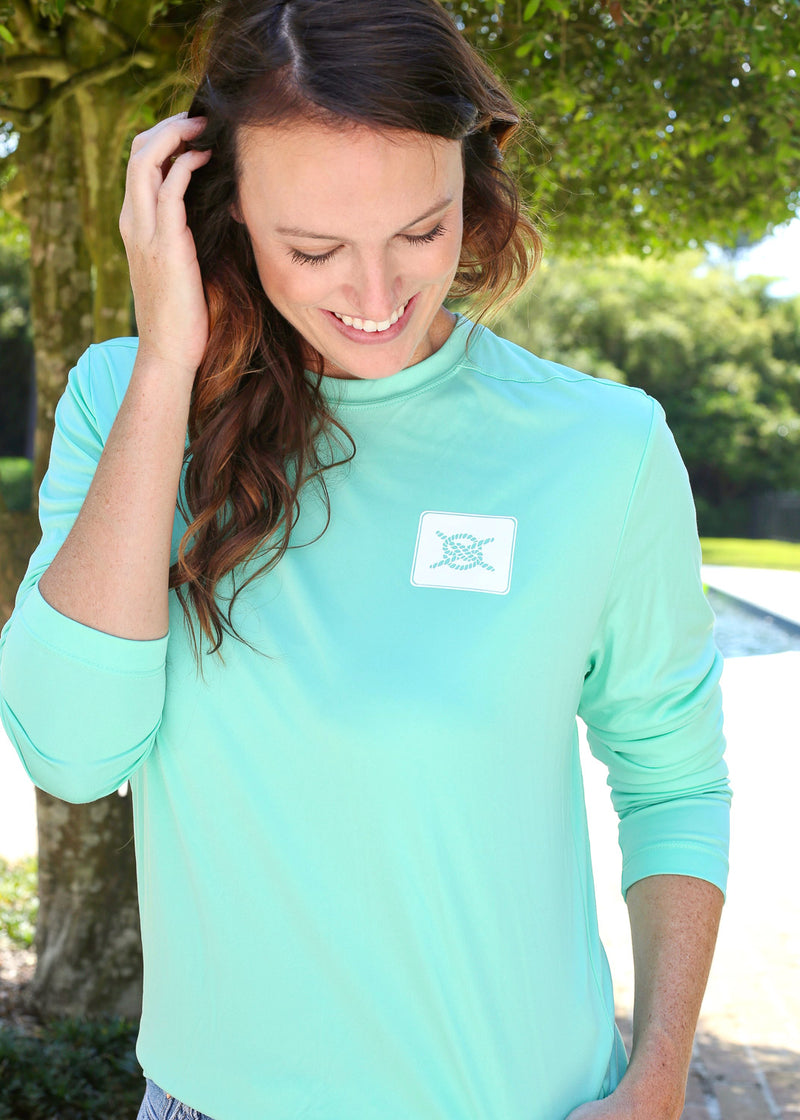 Stacked Logo Performance Long Sleeve - Seafoam