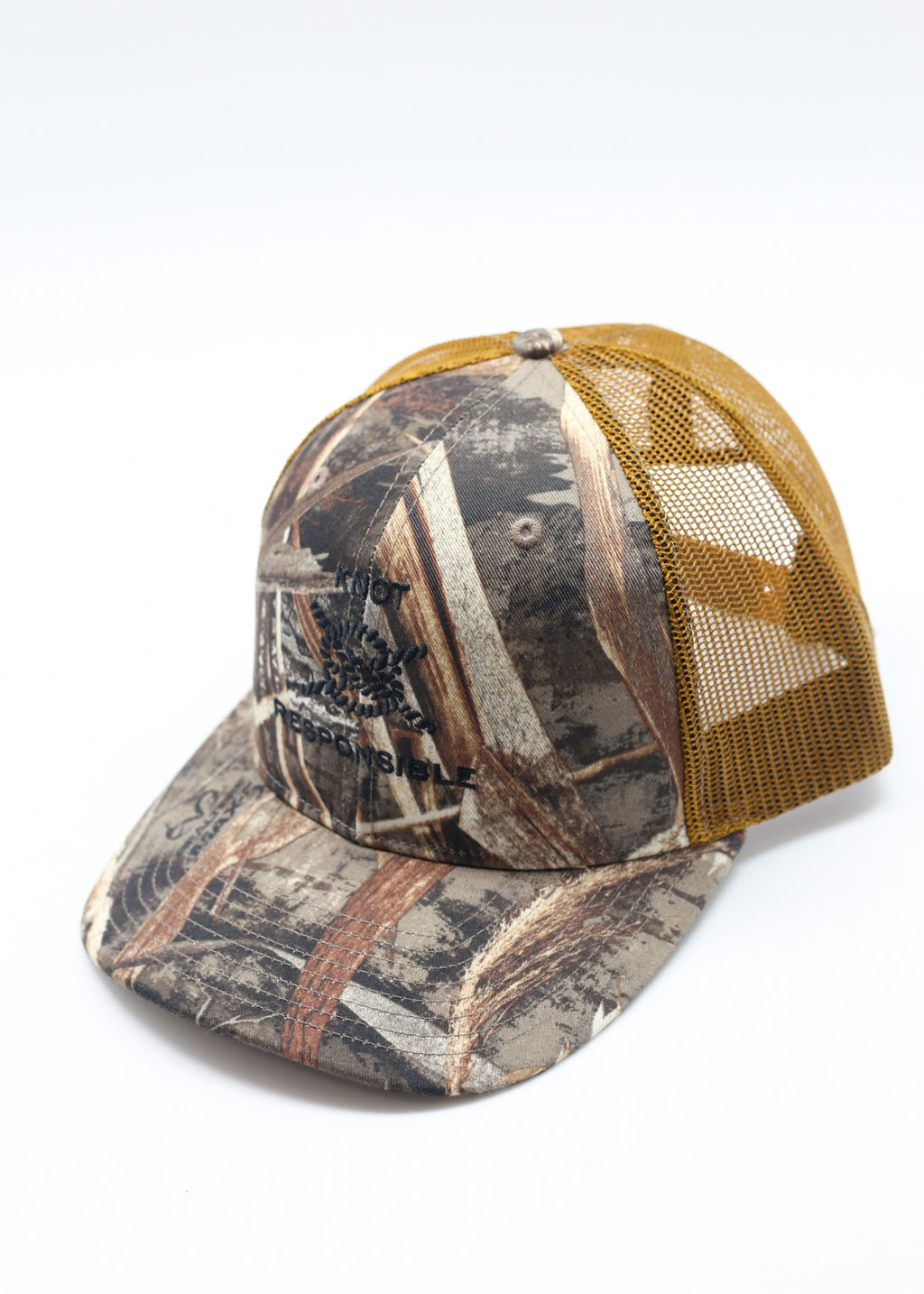 Embroidered Camo Trucker Hat- Black