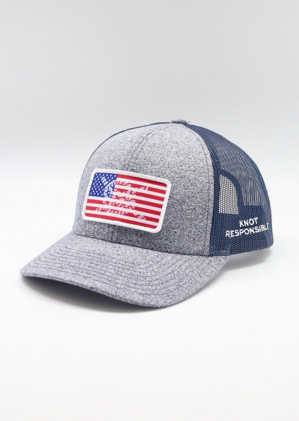 Limited Edition USA Patch Low Pro Trucker Hat- Navy/ Heather Navy