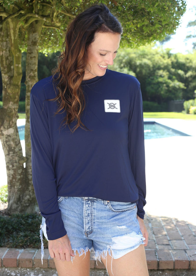 Stacked Logo Performance Long Sleeve - Navy