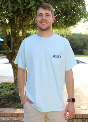 Classic Logo Cotton Pocket Tee- Sky Blue/ Navy