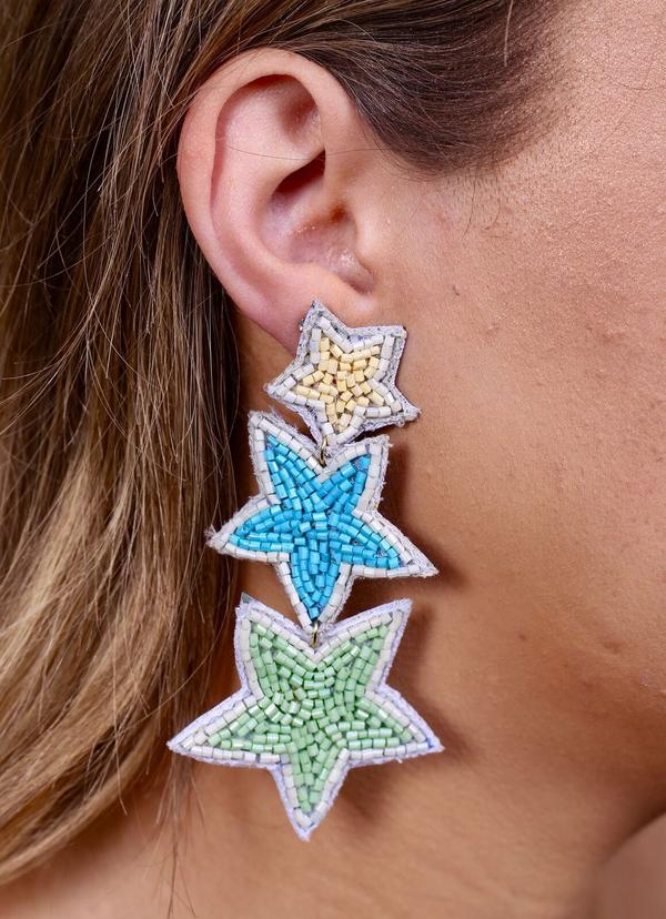 Stargazer Three Star Earring Blue