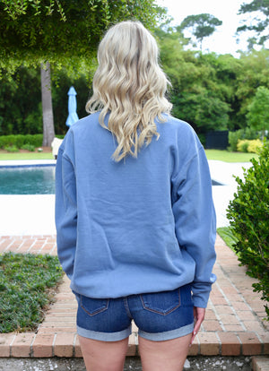 Pullover Crew Neck Sweatshirt- Denim/ Light Pink