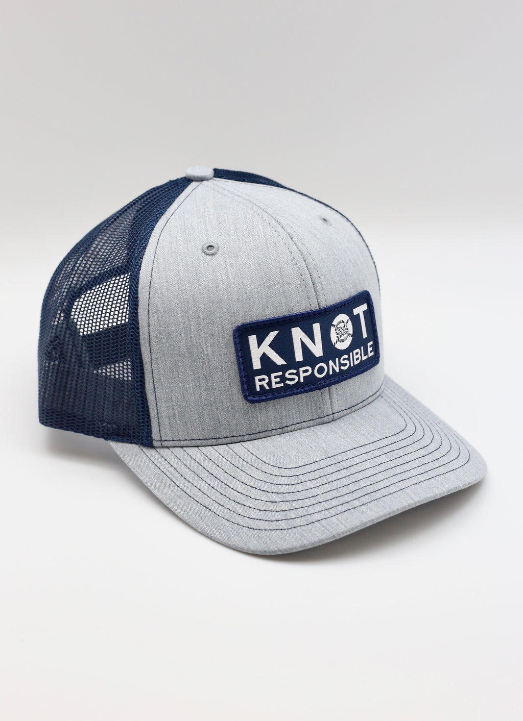 Original Trucker Hat Stacked Logo- Heather Grey/Navy