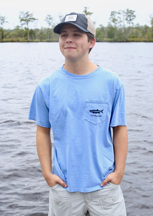 Southern Fish Cotton Pocket Tee- Columbia Blue