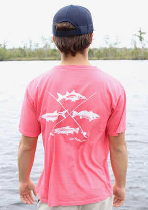 Southern Fish Cotton Pocket Tee- Salmon