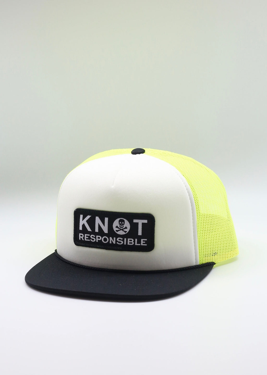 Jolly Roger Foam Trucker Hat- Black/White/ Neon Yellow