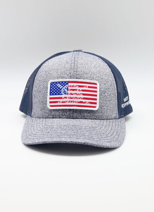 Limited Edition USA Patch Low Pro Trucker Hat- Navy/ Gray