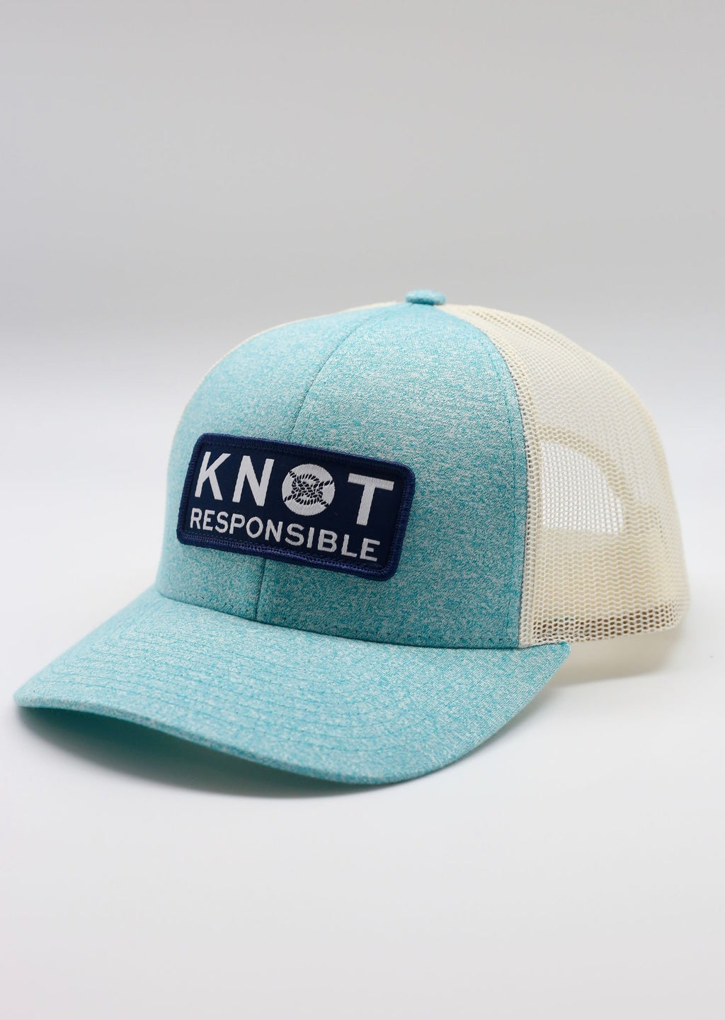 Low Pro Trucker Hat Stacked Logo- Heather Teal