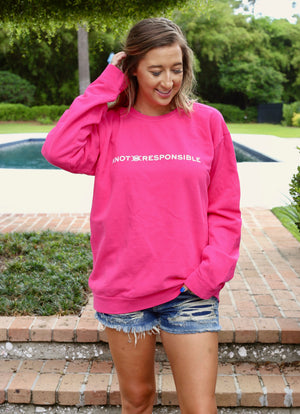 Pullover Crew Neck Sweatshirt- Hot Pink/ White