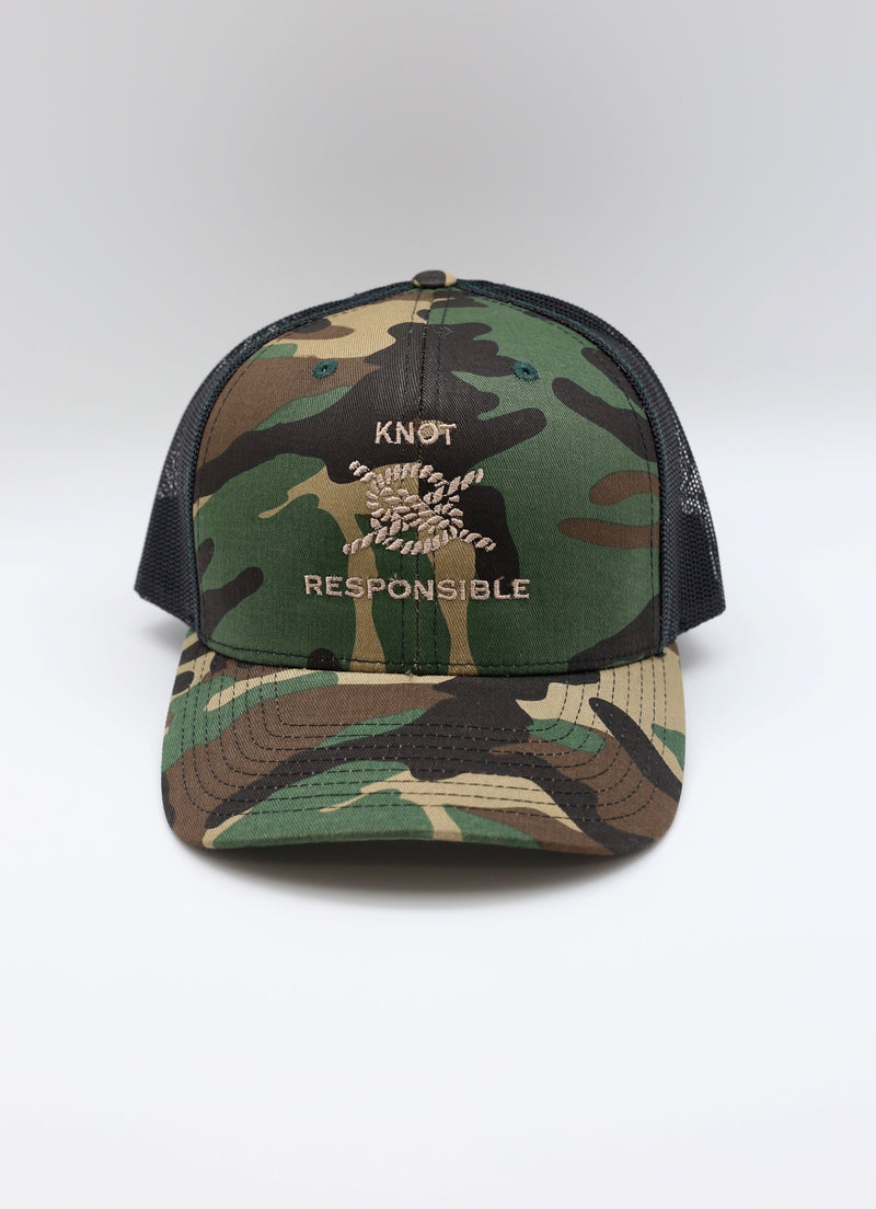 Embroidered Camo Trucker Hat- Tan