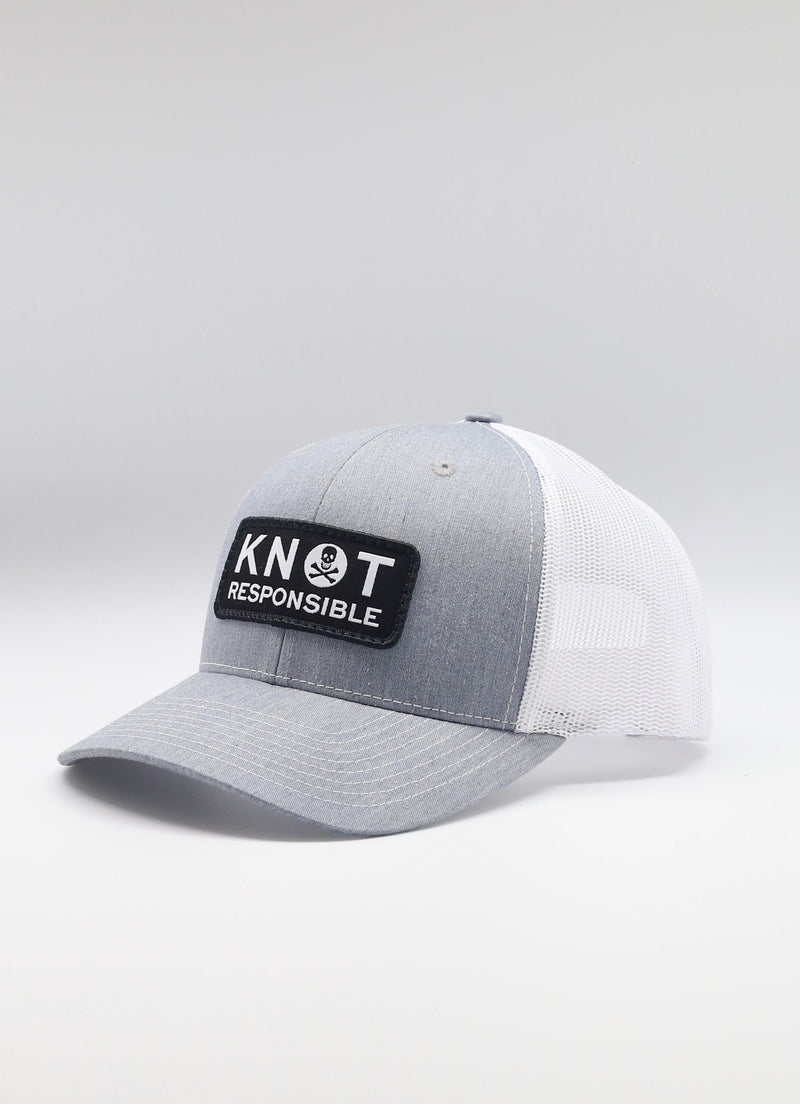 Original Trucker Hat Jolly Roger Logo- Heather Grey/White