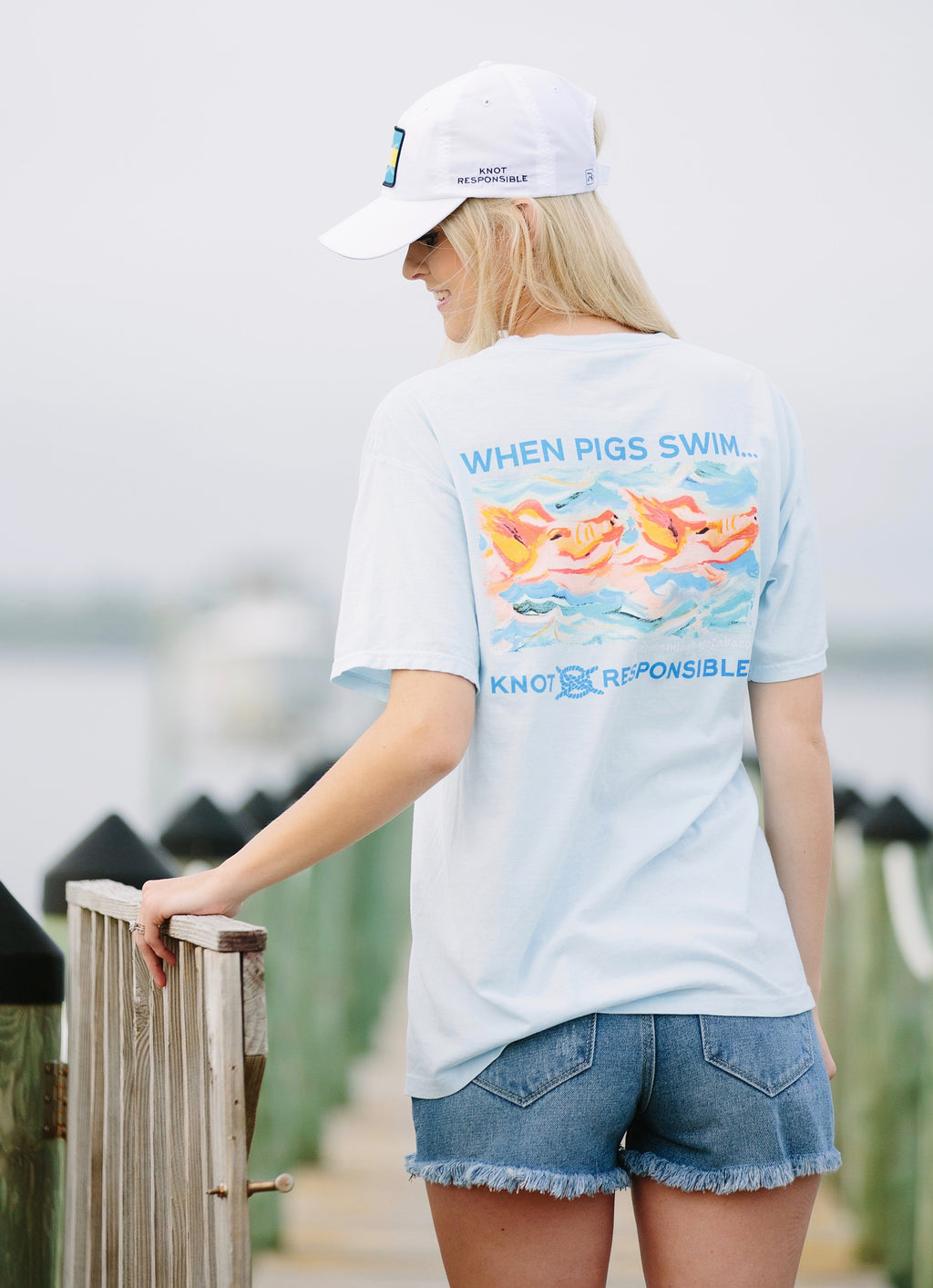 When Pigs Swim... Cotton T-Shirt Bahama Blue