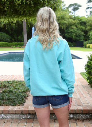 Pullover Crew Neck Sweatshirt- Mint/ Navy