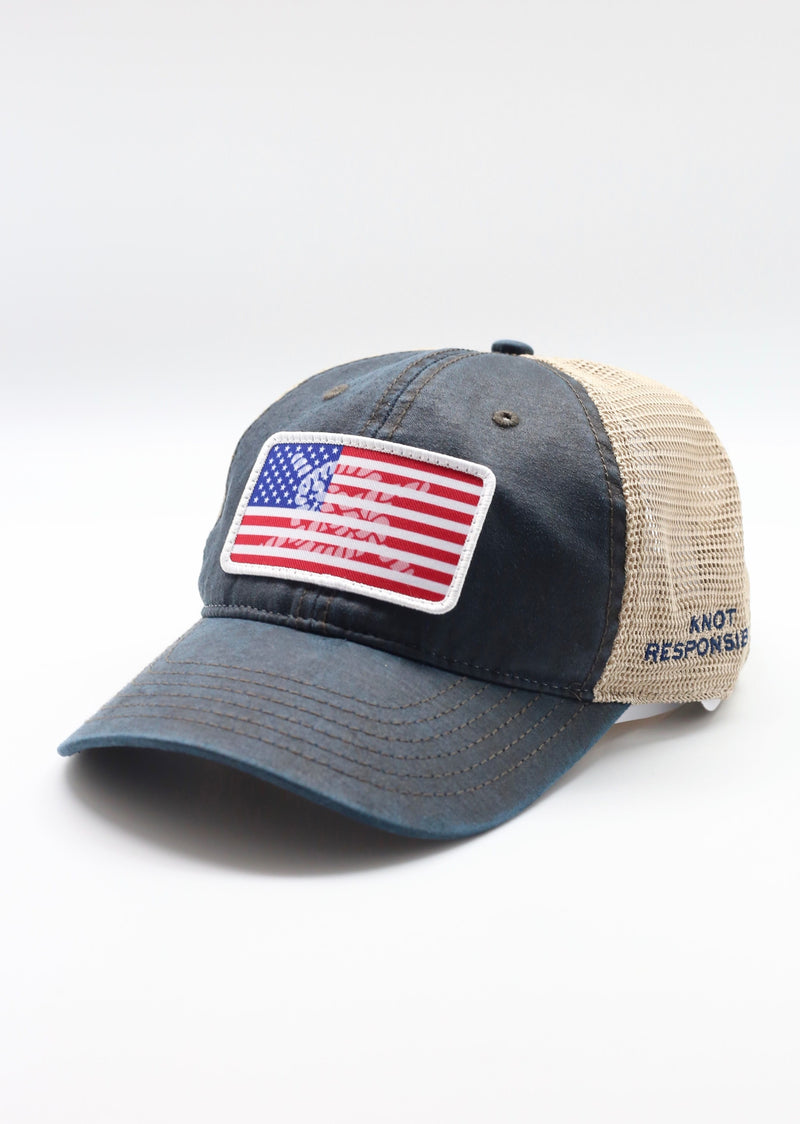 Limited Edition USA Patch Relaxed Trucker Hat - Washed Navy
