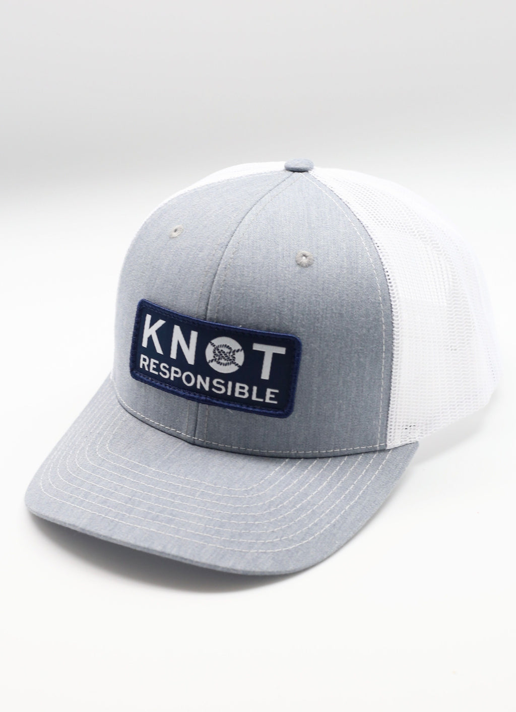 Original Trucker Hat Stacked Logo- Gray/White