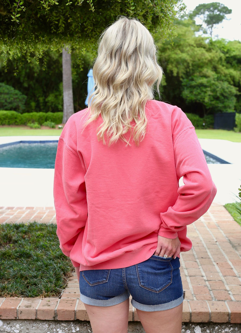 Pullover Crew Neck Sweatshirt- Strawberry/ Light Aqua