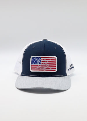 Limited Edition USA Patch Trucker Hat- Navy/White/Grey