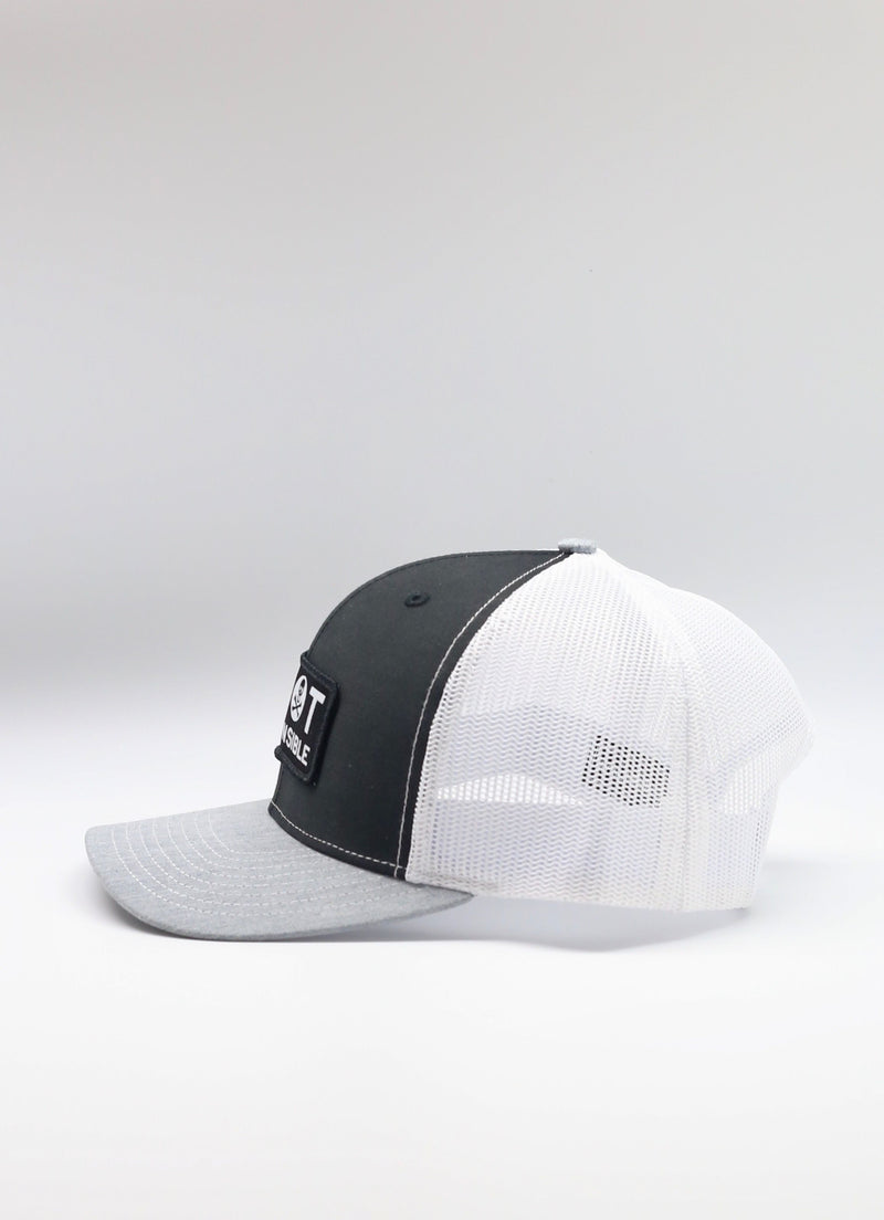 Original Trucker Hat Jolly Roger Logo- Black/White/Grey