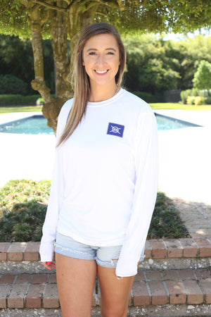 Stacked Logo Performance Long Sleeve - White