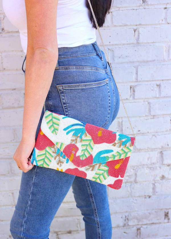 Floridian Floral Beaded Clutch/Crossbody Coral