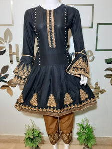 Embroided Black Three Piece suit Article TS-100203