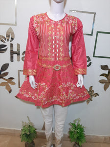 Embroided Three Piece Suit in Pink Color Article TS-100107
